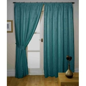"""Milano Retro Teal green curtains Width 90"""" x Drop 90"""" - Pencil pleat lined jacquard style. Contemporary lined curtains"""