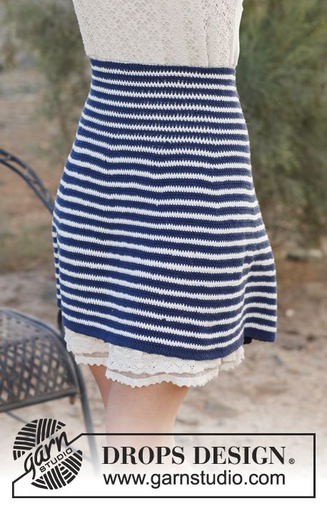 """Free pattern: Crochet DROPS skirt with high waist and stripes in """"Safran"""". Size: XS - XXXL."""