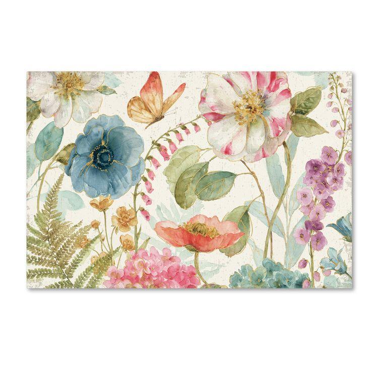 Lisa Audit 'Rainbow Seeds Flowers I on Wood Cream' Canvas Art