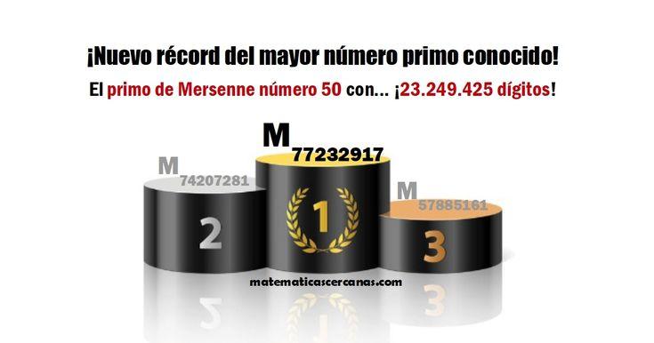 ¡Nuevo récord del mayor número primo conocido! El primo de Mersenne número 50 con... ¡23.249.425 dígitos!
