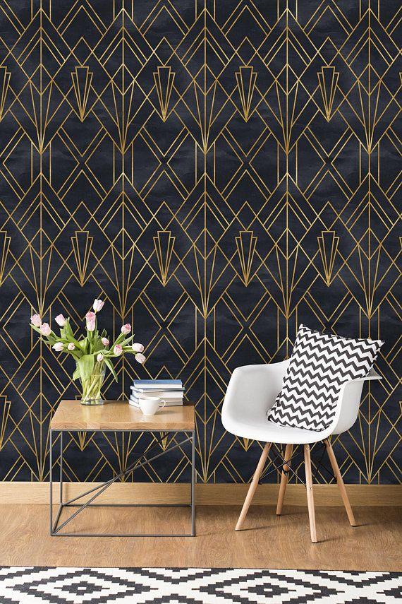 Removable Wallpaper Self Adhesive Wallpaper Gold And Black Etsy Home Wallpaper Art Deco Interior Art Deco Wallpaper
