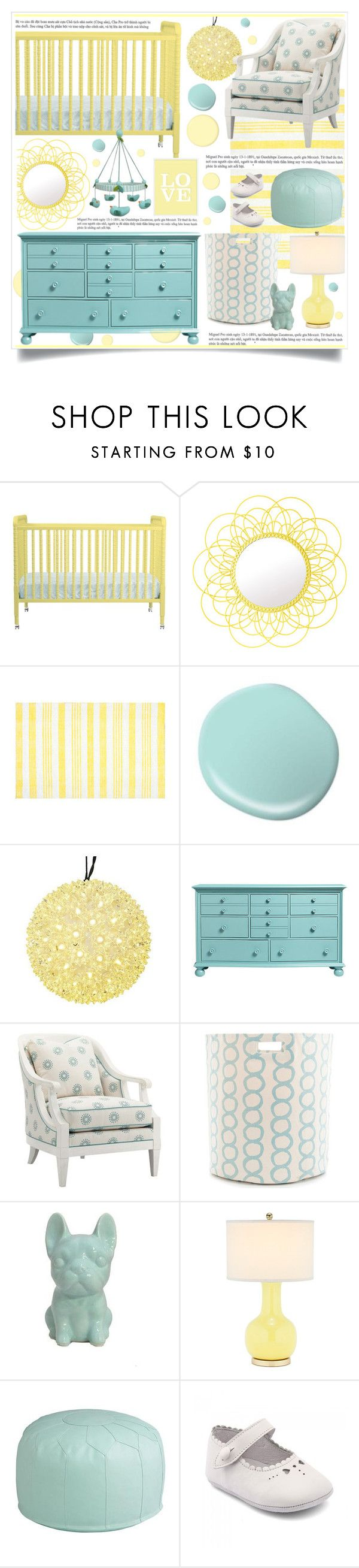 """Aqua & Yellow Nursery"" by hmb213 ❤ liked on Polyvore featuring interior, interiors, interior design, home, home decor, interior decorating, DaVinci, Pols Potten, Tommy Bahama and Fresh American"