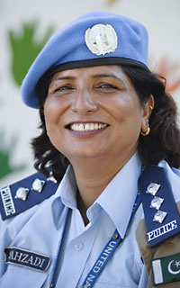 DSP Shahzadi Gulfam a Pakistani police officer, serving a U.N. peace operation, received the 2011 International Female Police Peacekeeper Award in recognition of her outstanding performance.She is the first Pakistani female officer to receive the prestigious  award.  She was the first female police officer to represent Pakistan when she was deployed in the UN Mission in Bosnia-Herzegovina in 1997.Later she served in Kosovo in 1999 and Timor-Leste in 2007.
