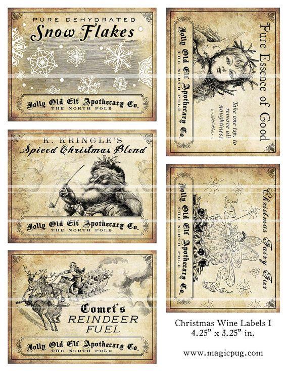 Antike Weihnachten trank Wein Etiketten 4.25 x 3,25 digitale Collage Blatt Dekorationen für Ihren Urlaub Abendessen Parteien druckbare jubeln Rentier