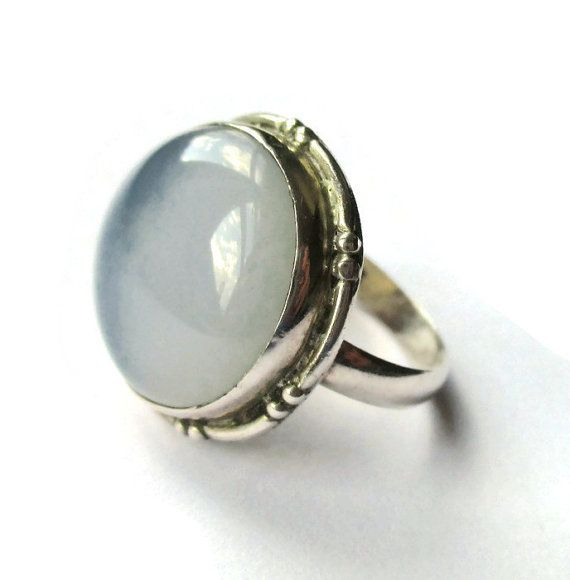 SOLD. Vintage grey blue agate ring, sterling silver Art Deco style setting, dusky chalcedony stone, large flat cabochon, cloudy day ring. https://www.etsy.com/listing/266754302/vintage-grey-blue-agate-ring-sterling