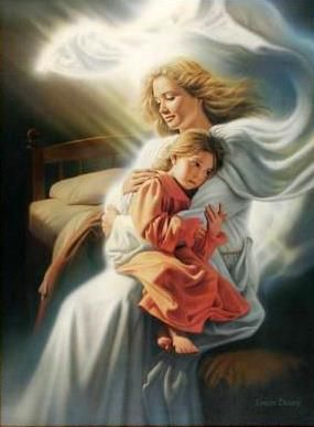 """Girl in the arms of an angel.  """"Angels Among Us"""" by Simon Dewey"""