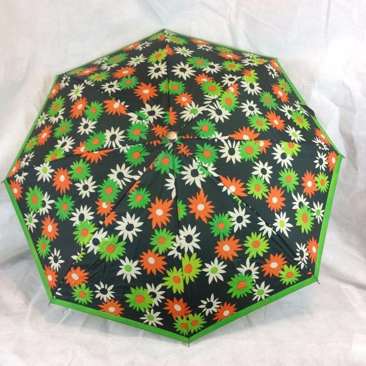 VTG 60s 70s Polan Katz Flower Power Umbrella PK Mid Century Metal Spring Parasol #PolanKatz #RainyDay