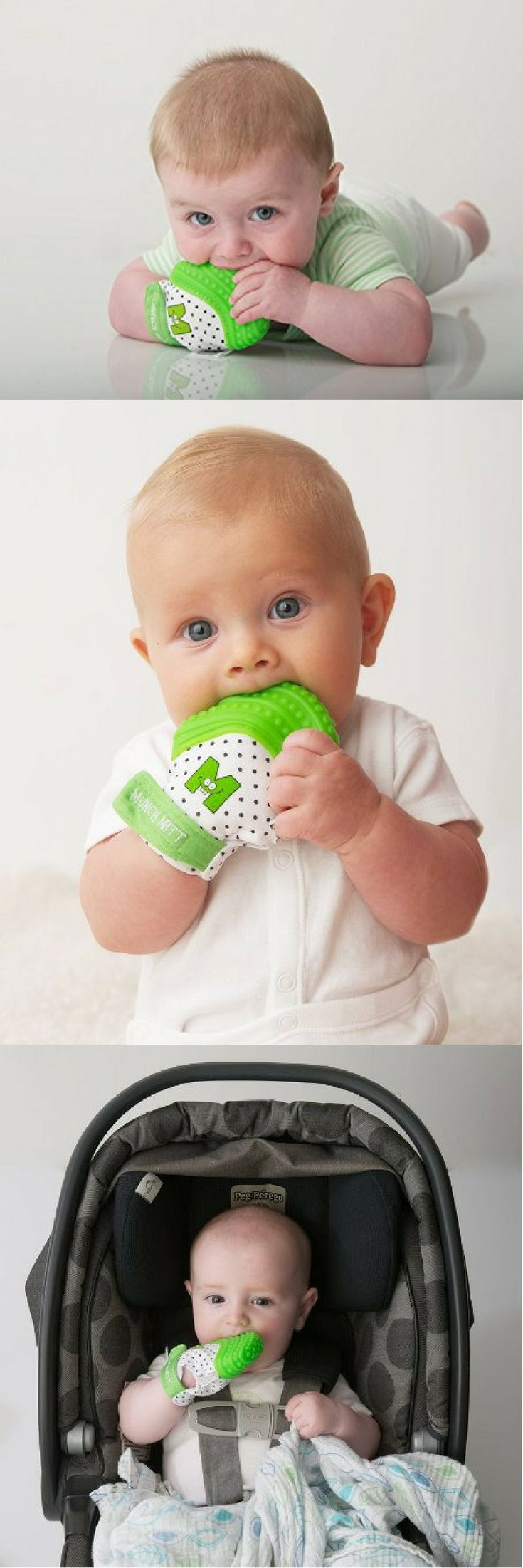 The best baby teething toy! The Munch Mitt is a great way to keep teething toys from falling onto the ground! Provides a ton of relief for baby teething pains with soothing silicon bumps! So cool!