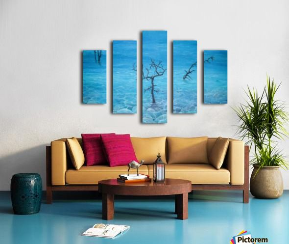 Winter, seascape, trees, scene, blue, fine art, oil painting, decor items, polyptych, 5 split, stretched, canvas, multi panel, prints, for sale