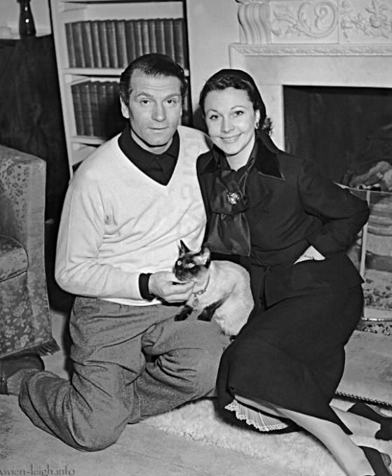 Lawrence Olivier and Vivian - From Vivian-Leigh.info with Siamese cat