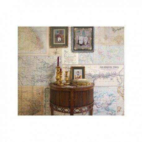 Mural Old Maps. Mural de papel pintado estampado con mapas antiguos. Medidas: 2.325m x 2.70m (disponible a la medida) Fácil de colocar, lavable e ignífugo. Gran calidad de las imágenes