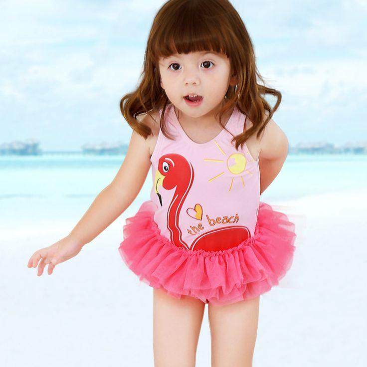 Baby Girl Swimsuit Pink Flamingo Girl swimwear One Piece Bathing Suit for Little Girls Bodysuit Beach Swiming Suit traje de bano #Affiliate