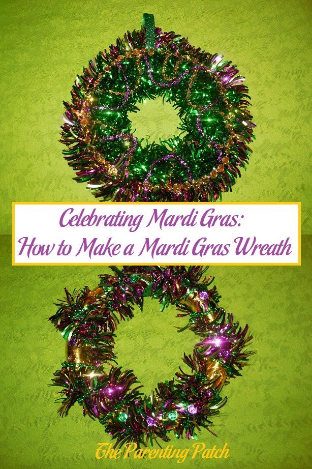 Mardi Gras is a holiday that begins on or after Epiphany and culminates on the day before Ash Wednesday. Learn how to make two different wreaths for Mardi Gras: a green tinsel wreath with purple and gold beads and a gold washi tape wreath with Mardi Gras tinsel and beads. via @ParentingPatch