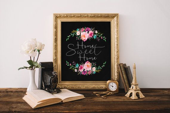 """PRINTABLE Art """"Home Sweet Home"""" Typography Art Print 