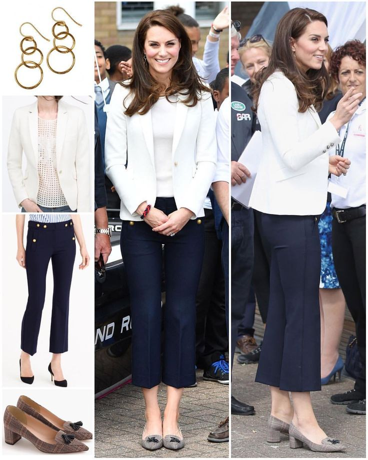 Kate, who stuck to the nautical colour scheme in skinny blue J Crew trousers, a white Zara jacket and low-heeled courts, also by J Crew, was on duty in her role as Patron of the 1851 Trust, attending the charity's Land Rover BAR Roadshow at the Docklands Sailing and Watersports Centre on Friday. She displayed a bouncy, glossy blow dry and accessorised with gold hooped Mirabelle Lolita earrings from the designer's 'Mythology' collection, for the occasion.