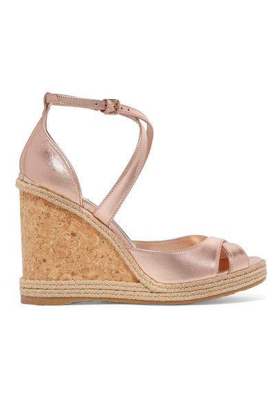 53967df364b Jimmy Choo - Alanah 105 metallic leather espadrille wedge sandals in ...