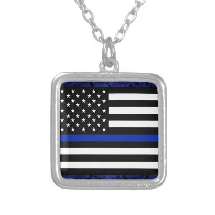 Police Flag with Officers Silver Plated Necklace - jewelry jewellery unique special diy gift present