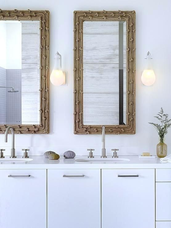 Beachy Bathroom Mirrors Modern Coastal Features A White Dual Washstand Ed With Flat Front Cabinets Topped Quartz Framing His And