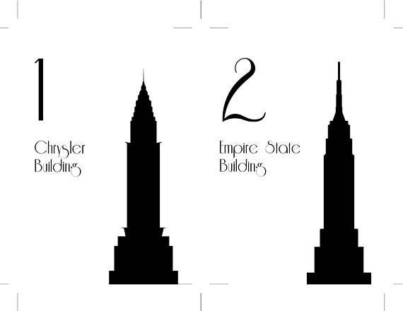 Unmounted NYC Table Number New York City Wedding Decor