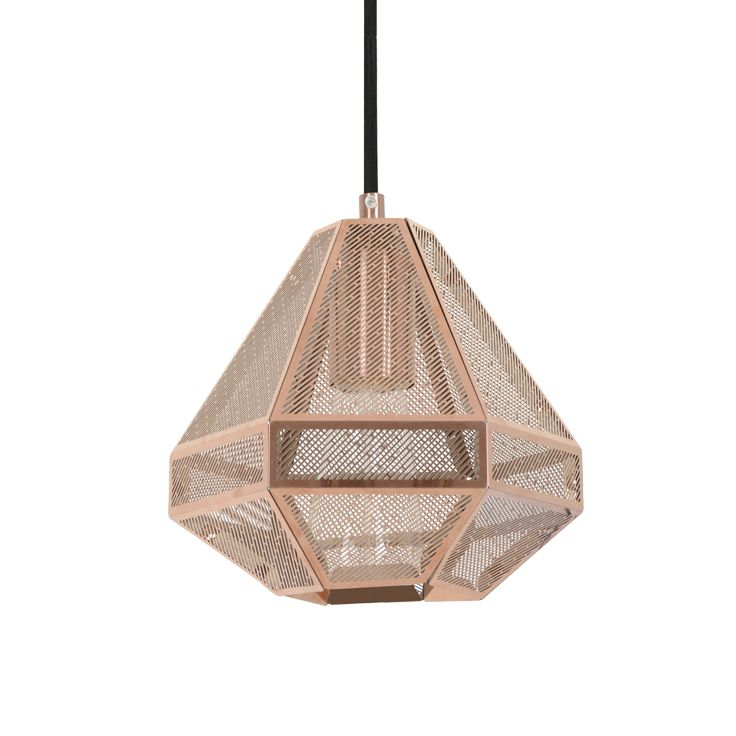 The Beacon Lighting Elliot small squat 1 light 185mm geometrical copper pendant with copper mesh and black flex.