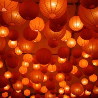 My favorite color.  Orange Hanging Lanterns #orange  #party decor