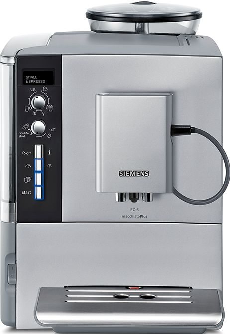 Siemens EQ5 TE515201RW  Siemens TE515201RW EQ5: Koffie volautomaat Met de Siemens TE515201RW EQ5 zet je in een handomdraai de lekkerste koffiespecialiteiten. De TE515201RW beschikt over een aantal innovatieve functies waardoor koffie drinken een waar genot wordt. Dankzij het aromaDouble Shot programma waarbij de koffie dubbel gemalen wordt krijg je een extra krachtige espresso zonder de bittere nasmaak. Of maak gebruik van de autoWhirl Plus waardoor je een perfecte melkschuim creëert voor de…