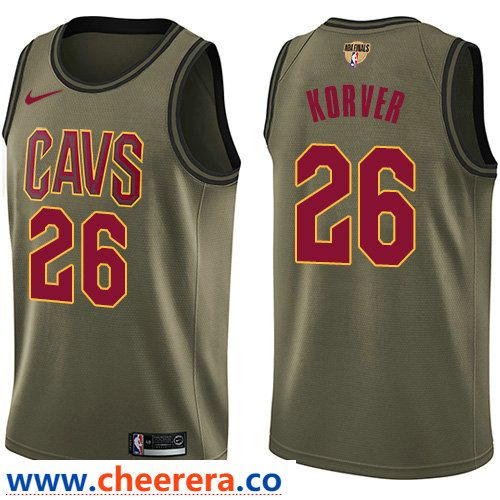 Nike Cavaliers  26 Kyle Korver Green Salute to Service The Finals Patch NBA  Swingman Jersey ebc740ad2