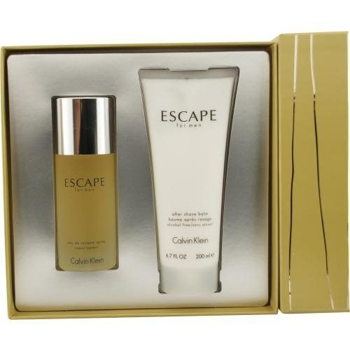 ESCAPE by Calvin Klein Cologne Gift Set for Men (SET-EDT SPRAY 3.4 OZ & AFTERSHAVE BALM 6.7 OZ) by Calvin Klein. $55.88. 100 % Genuine Fragrance.. Concentration: Eau De Toilette. Year Introduced: 1993. Size: -. Recommended Use: daytime. 100% Authentic ESCAPE by Calvin Klein Cologne Gift Set for Men (EDT SPRAY 3.4 OZ & AFTERSHAVE BALM 6.7 OZ). Manufactured by the design house of Calvin Klein. ESCAPE for MEN possesses a blend of mandarin, apple, plum, peach, rose a...