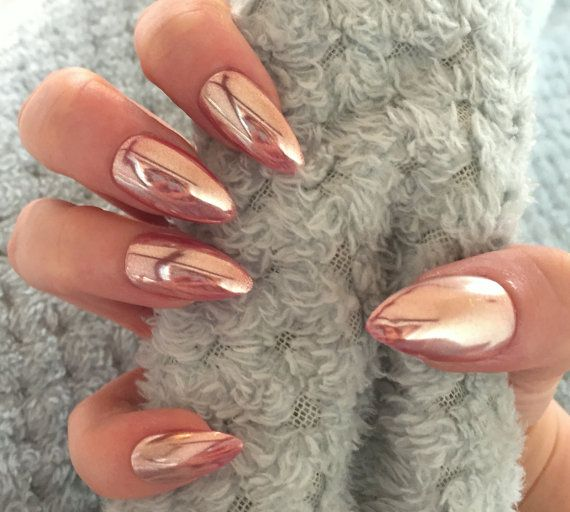 FALSE NAILS  Rose Gold Chrome Mirror Holographic  by TheHolyNailUK