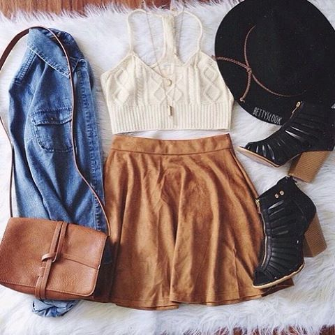| Creme Knit Crop Top | Caramel Colored Suede Skirt | Denim Chambray Button Up | Black Booties | Black Brim Hat | Brown Bag | Layering Necklaces |