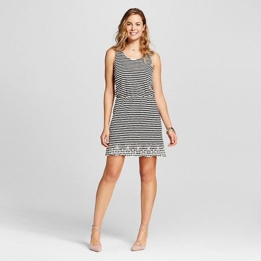 Women's Striped Fit and Flare Tank Dress Black/Ivory XS - Isani for Target
