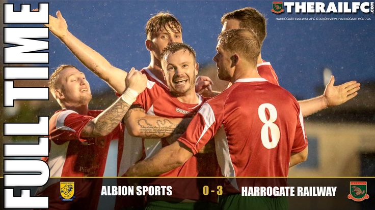 FT: Albion Sports 0-3 Harrogate Railway    @Therailfc progress to next round.    @AlbionSportsAFC #NCEL @Edwhite2507