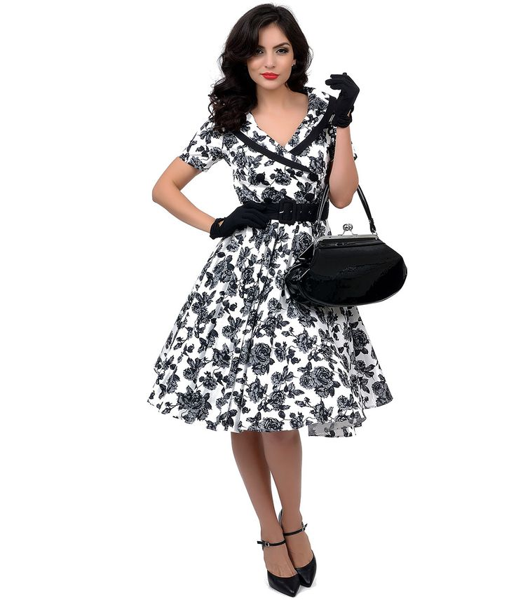 Hell Bunny 1950s Style Black  White Floral Button Up Honor Swing Dress $88.00 AT vintagedancer.com