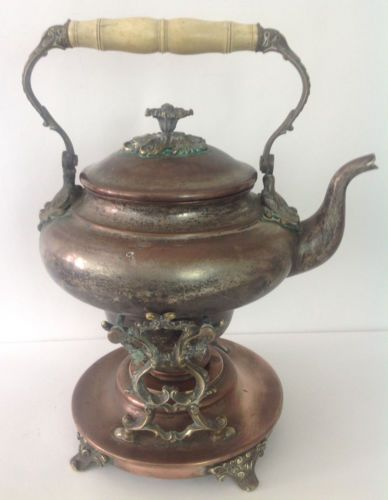 Vintage Teapots With Stand Antique Victorian Copper