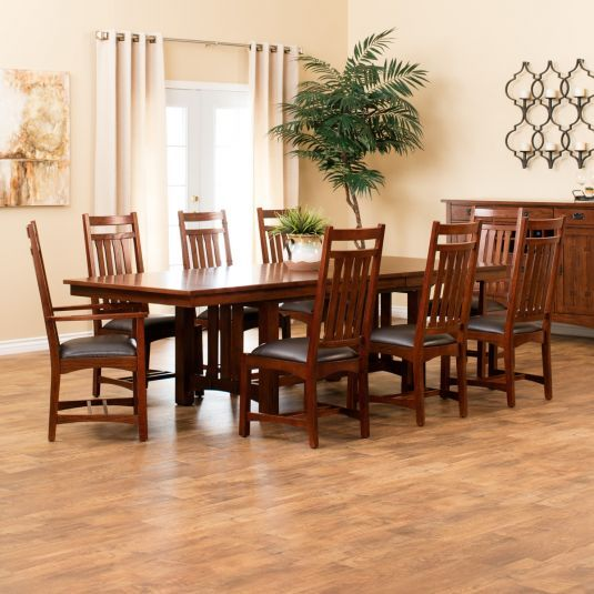 Delano 7pc Dining Set W Curio Table 6 Side Chairs