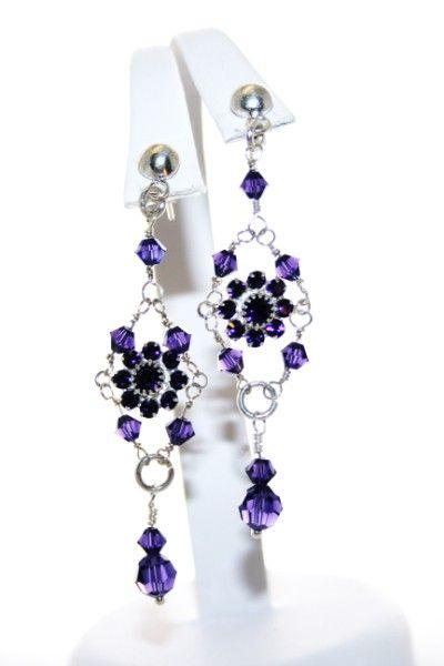 Custom purple and sterling silver Swarovski earrings