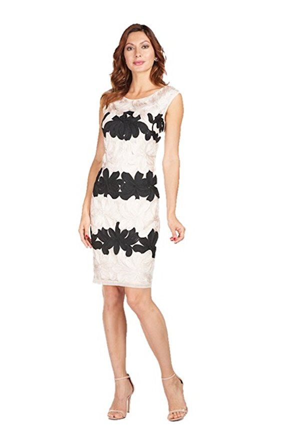 a40f20fcdf9 Lyman by Frank Lyman Blush Dress With Black Lace Details Style 188105U -  Spring 2018 (4)