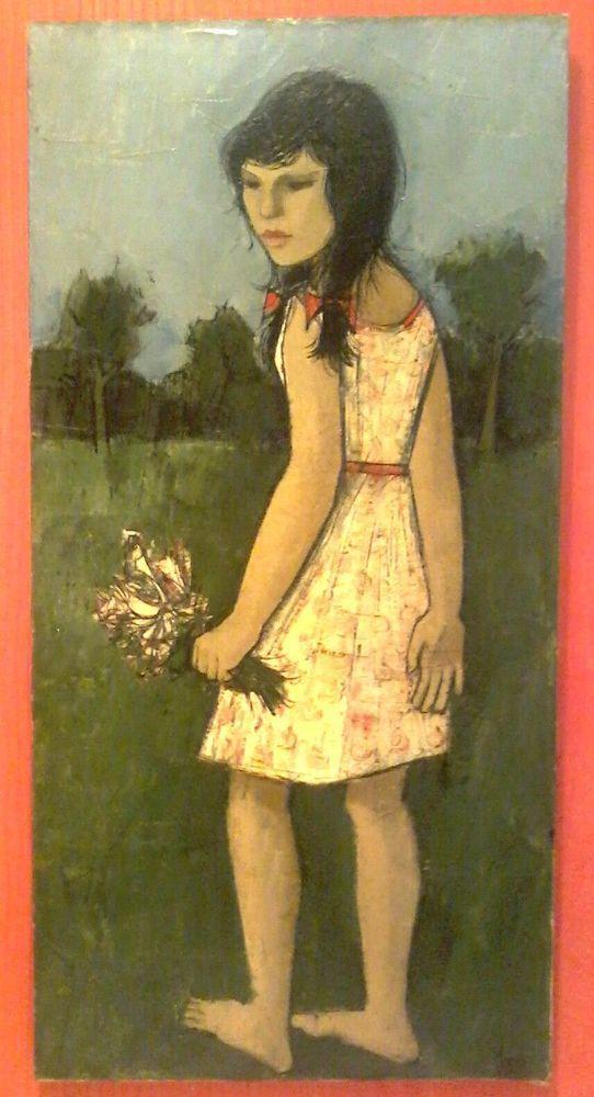 1960's HJ (BER) MENGELS Listed DUTCH CUBIST Artist FLOWER GIRL LARGE Orig O/C NR #Cubism