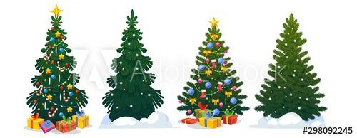 Festive Christmas Trees In Cartoon Style Set Vector Illustration Decorated Green Fir Trees And Pines With Snow In 2020 Christmas Tree Festive Christmas Cartoon Styles
