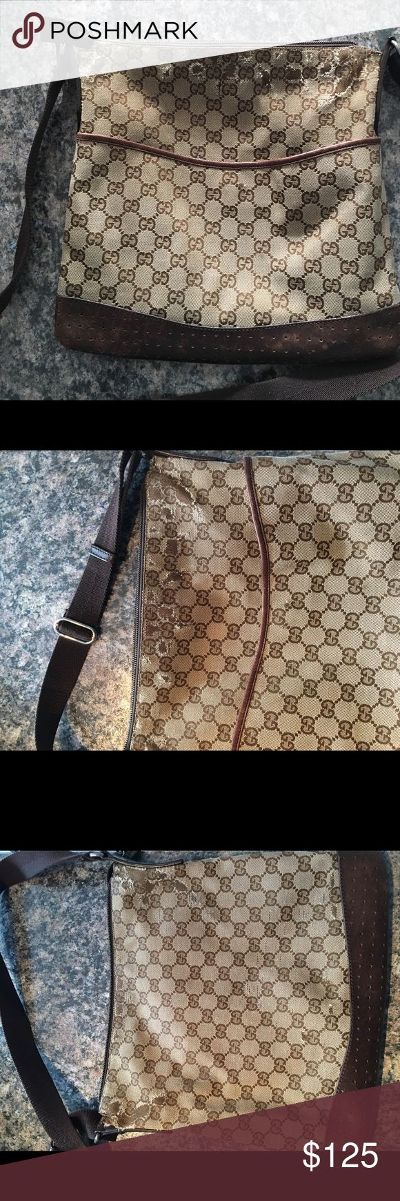 Authentic GUCCI messanger bag. Authentic Gucci messenger bag WORN on the top see pictures! Gucci Bags
