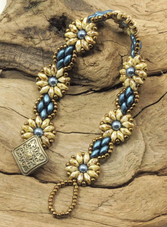 SUPERDUO  FLOWER BRACELET-Opaque Luster and Petrol Pearl SuperDuos-Steel Blue Glass Pearls-Toho Antique Bronze Seed Beads (SD14)