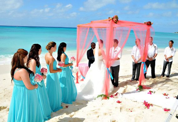 #2 Alter idea - Carnival Cruise Destination Wedding  I love the brides maids dresses! I don't like the coral color on the alter.