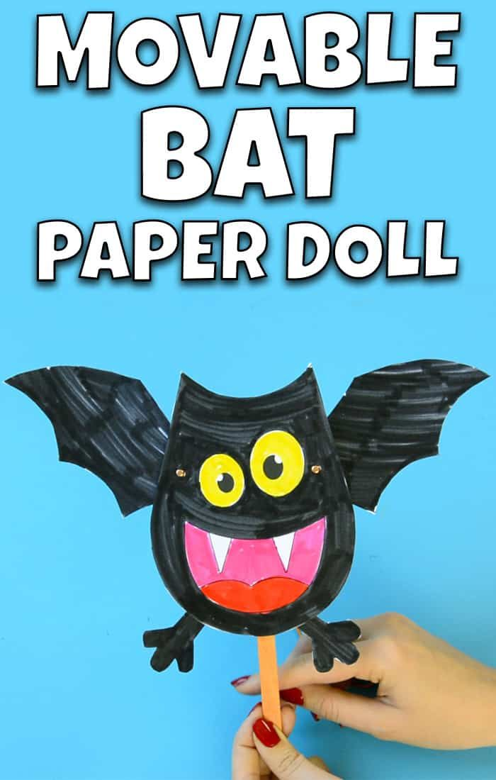 Movable Bat Paper Doll Halloween Craft for Kids #Batcraftsforkids #Halloweencraftsforkids #Craftsforkids