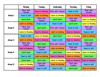 Daily 5 Rotation Schedule