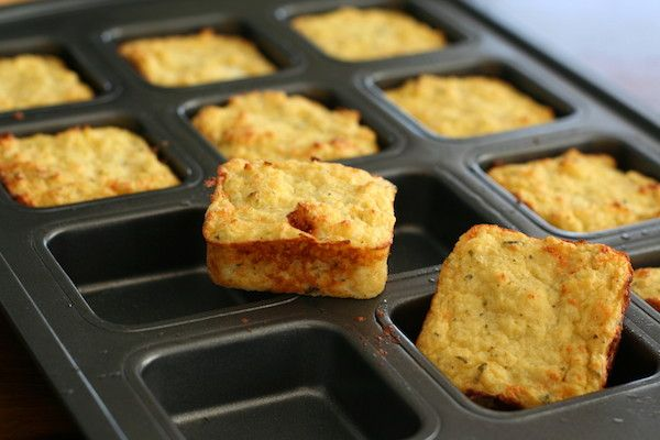 Cheesy Mashed Cauliflower Puffs - not low calorie. I bet if you cut these in half you could make mini pizzas on them. Enjoy