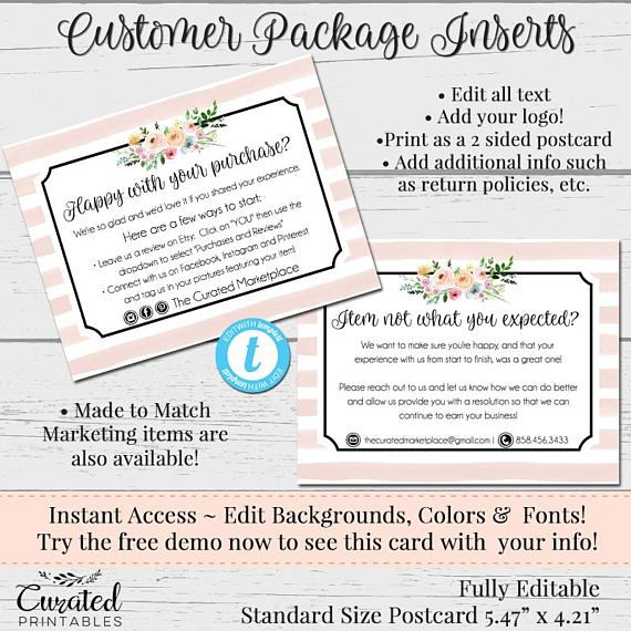 Customer Feedback Card Thank You Insert Package Insert Etsy Postcard Template Marketing Template Business Postcards