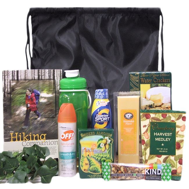 74.99 Perfect for the adventure hiker in your life, the Take A Hike gift basket features everything needed for a successful hike up the trail. With healthy snacks, bug repellent and more, this gift is a great choice for your favorite outdoorsy person.