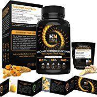 Organic Turmeric Curcumin Capsules Best Pain Relief & Joint Support Black Pepper Organic Turmeric Supplement Pills with Curcuminoids & Ginger Powder Bundle 120 Anti-inflammatory Tablets