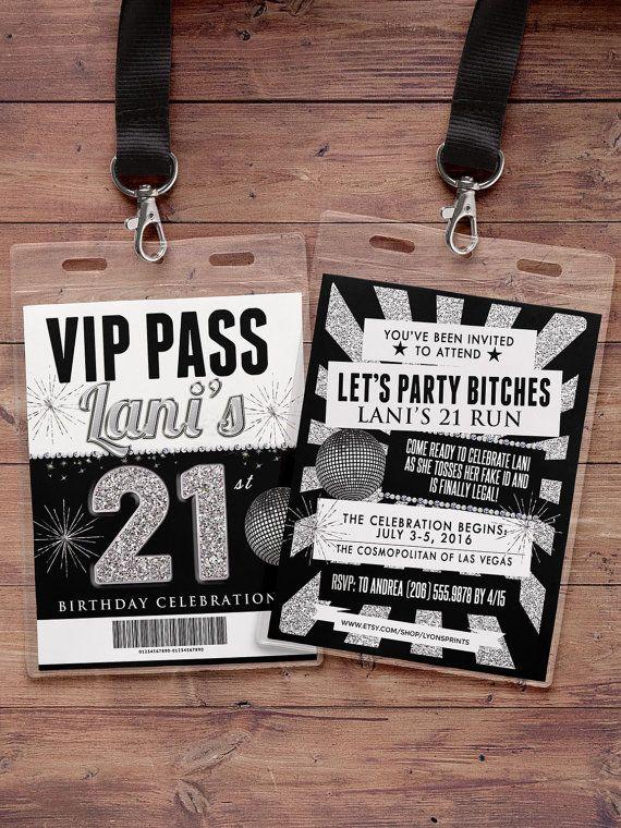 VIP PASS, 21 cumpleaños pase, boleto concierto, invitación de cumpleaños, boda, babyshower, despedida de soltera invitación, favor de partido,