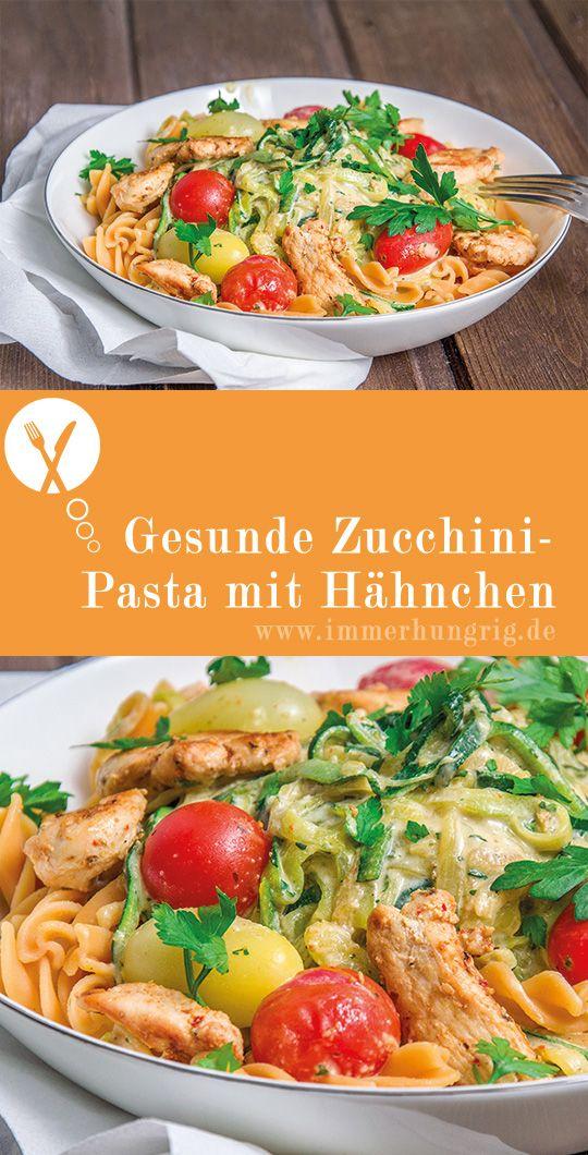 Gesunde Zucchini-Pasta mit Hähnchen in Frischkäsesauce